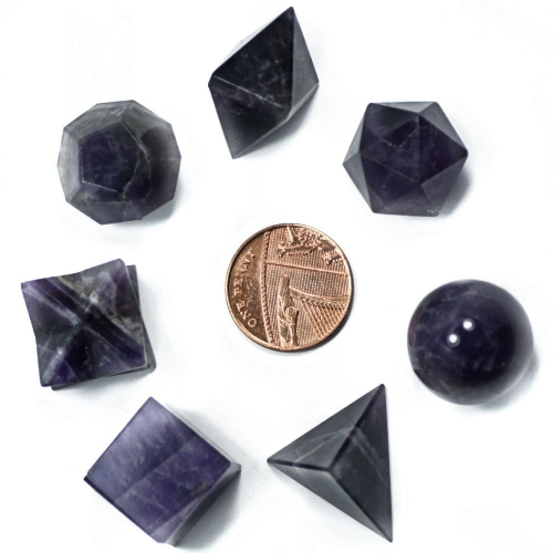 Amethyst Sacred Geometry Set (Platonic Solids, Merkaba & Sphere) with Keepers Pouch